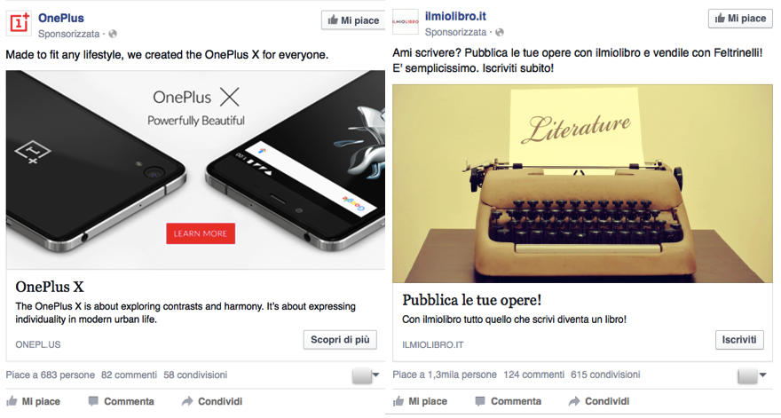 esempi di pubblicità su facebook