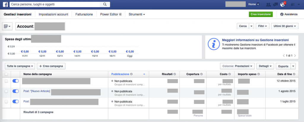 schermata di facebook ads manager