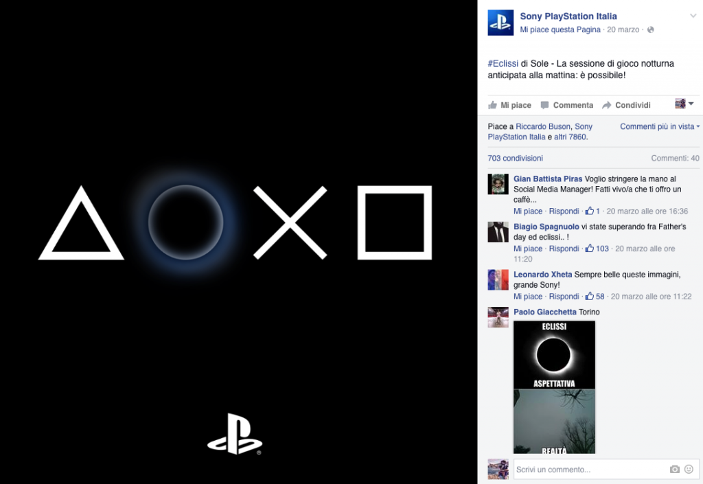sony playstation italia eclissi