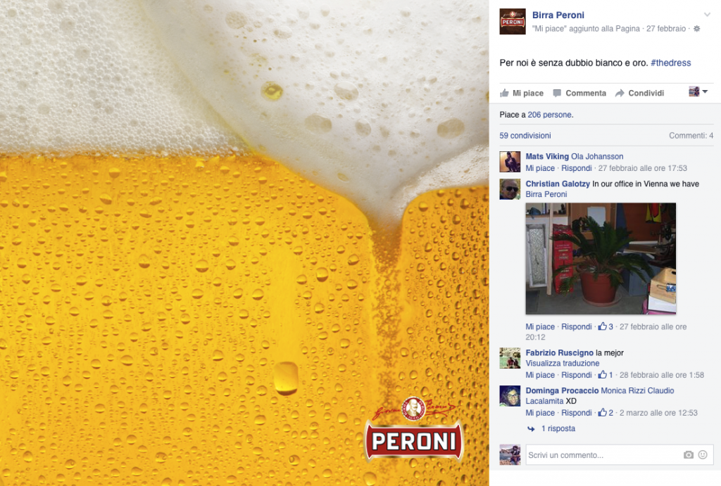 BIRRA PERONI the dress