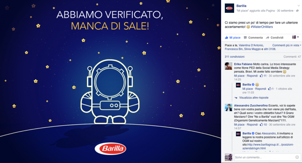 water on mars barilla