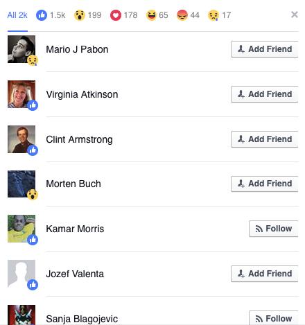 misurazione engagement facebook reactions