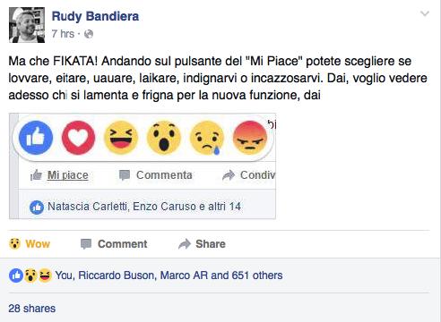 rudy bandiera facebook reactions