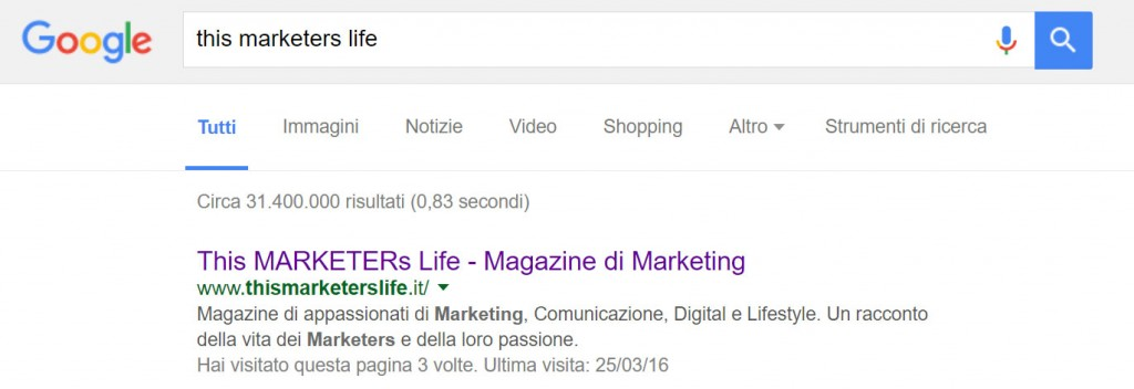 Risultati di ricerca su Google per This Marketers Life