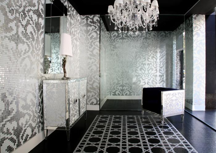 Flagship store Barcellona - decoro Damasco oro bianco