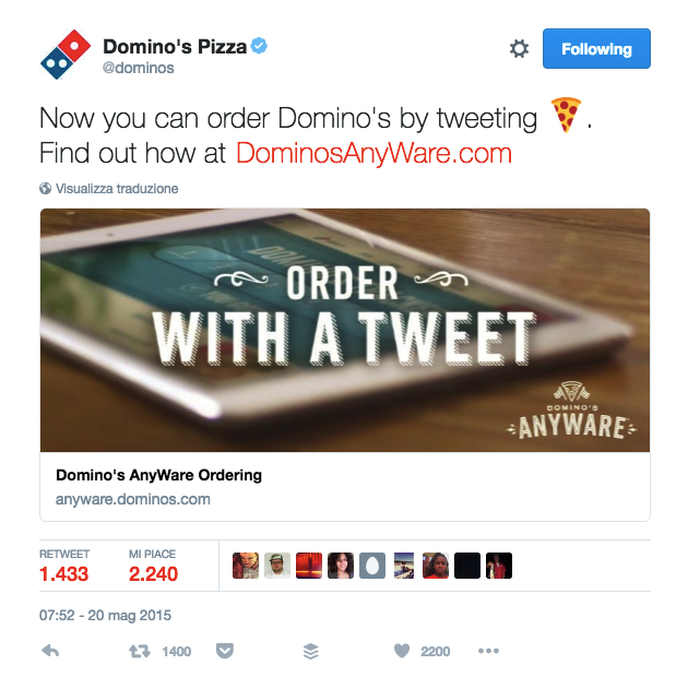 Ordinare una pizza con una Emoji su Twitter: Domino's Pizza