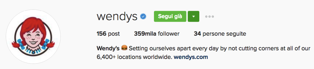 wendy's Instagram