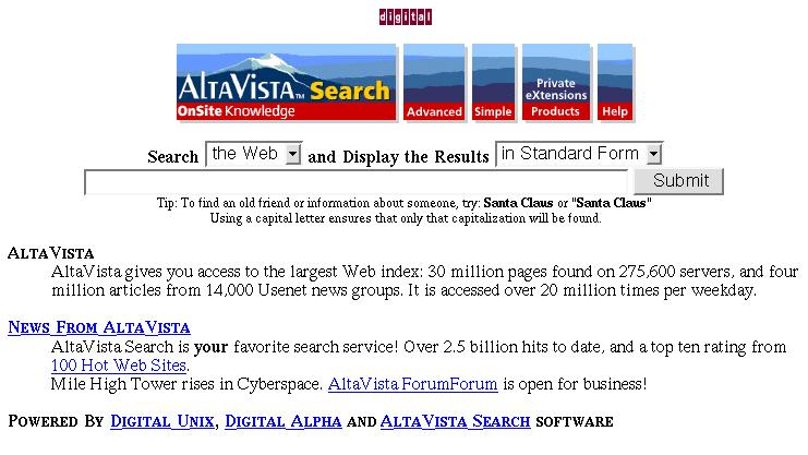 altavista motore di ricerca 1994