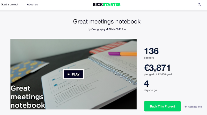 Come funziona Kickstarter? Landing Page di Great Meetings Notebook