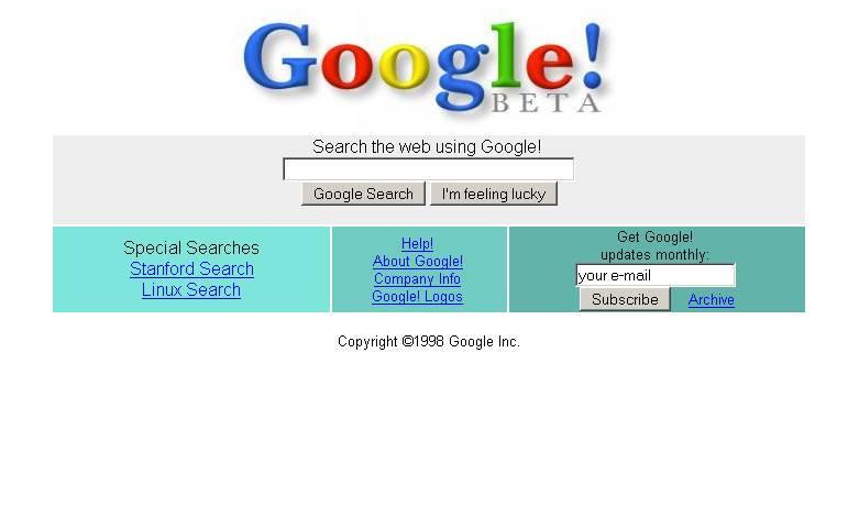 google prima pagina 1998