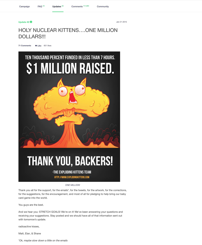 exploding kittens kickstarter un milione di dollari