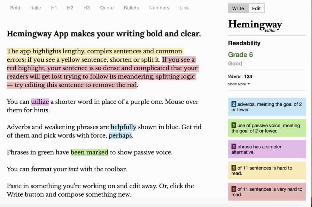hemingway editor ux writing test di leggibilità dati
