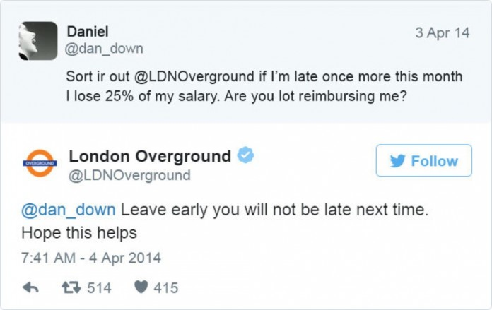 London Underground Tweet