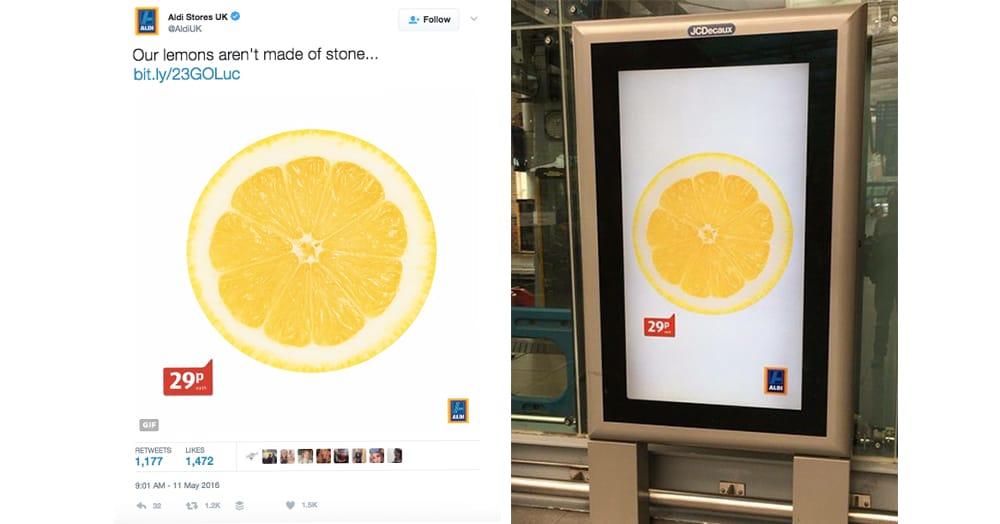 Aldi pubblicizza i propri limoni citando l'iconica copertina degli Stone Roses