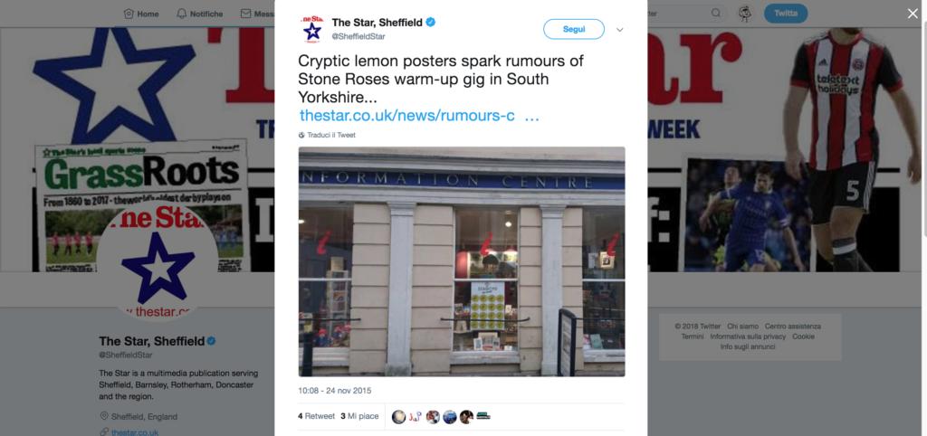The Star Sheffield pubblica la notizia sulle voci di un possibile concerto degli Stone Roses nello Yorkshire