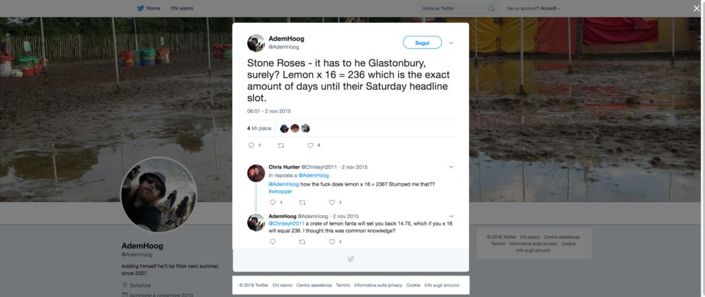 Tweet di AdemHoog sul third coming degli Stone Roses dopo la comparsa dei poster con gli iconici limoni nel 2015 a Manchester