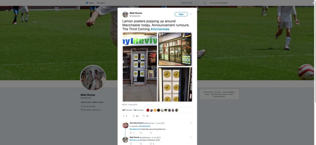 Tweet di Matt Roche sul third coming degli Stone Roses dopo la comparsa dei poster con gli iconici limoni nel 2015 a Manchester