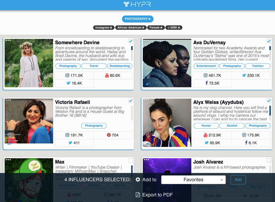 hypr piattaforma per cercare influencer