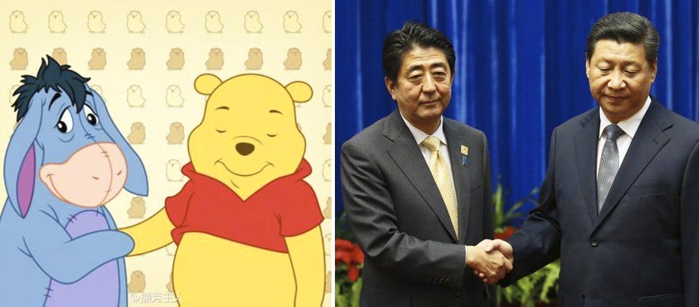 Due immagini a confronto: da un lato Ih-Oh e Winnie the Pooh, dall'altro Shinzo Abe e Xi Jinping
