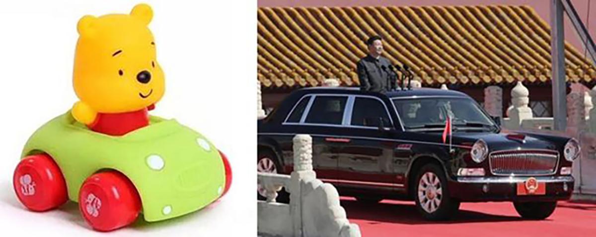 Due immagini a confronto: da un lato Winnie the Pooh in macchina, dall'altro Xi Jinping anch'egli in automobile