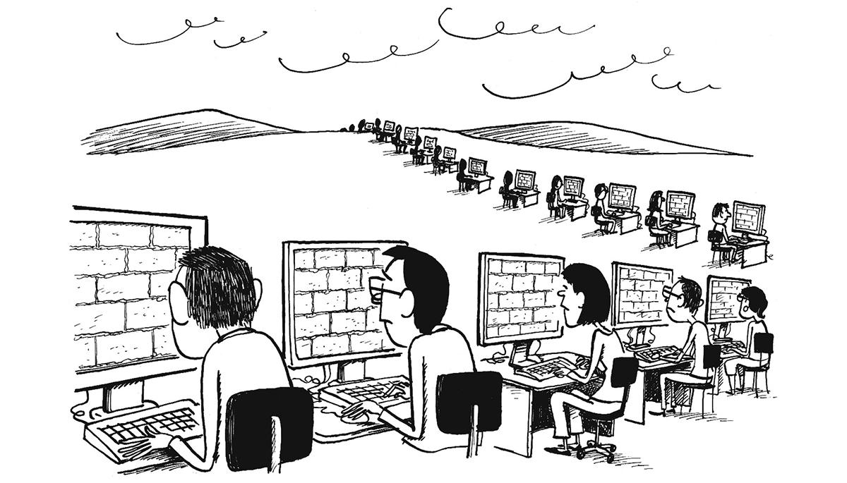 Muraglia cinese fatta di postazioni di computer