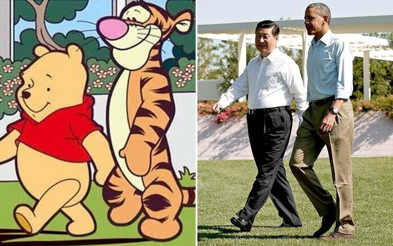 Due immagini a confronto: da un lato Winnie the Pooh e Tigro, dall'altro Xi Jinping e Barack Obama