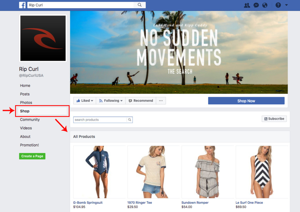 social commerce shop negozio su facebook