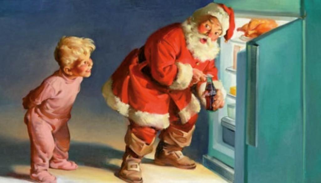 Babbo Natale ruba una Coca-Cola dal frigo