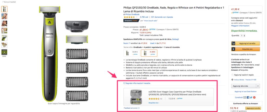 Sponsored product prodotto sponsorizzato Amazon