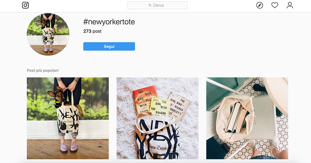 The New Yorker Tote Bag Instagram hashtag