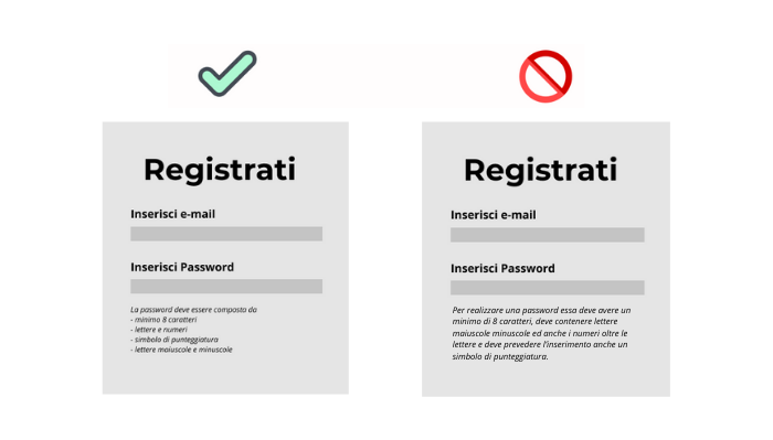 microcopy creazione password