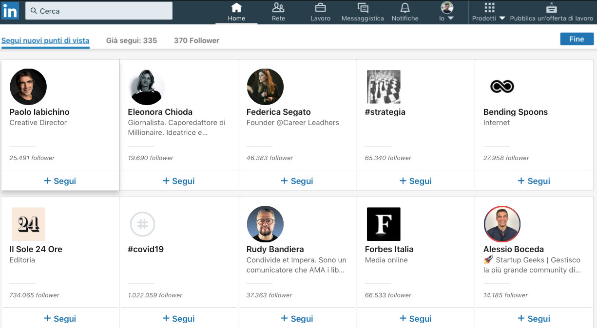 Nuove connessioni su LinkedIn