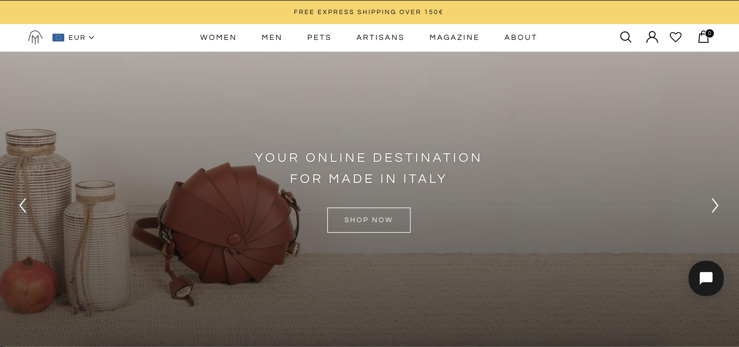 Mirta, piattaforma per artigiani Made in Italy: slide iniziale sito