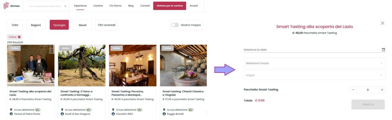 Come si può prenotare una degustazione di vino online su Divinea.com