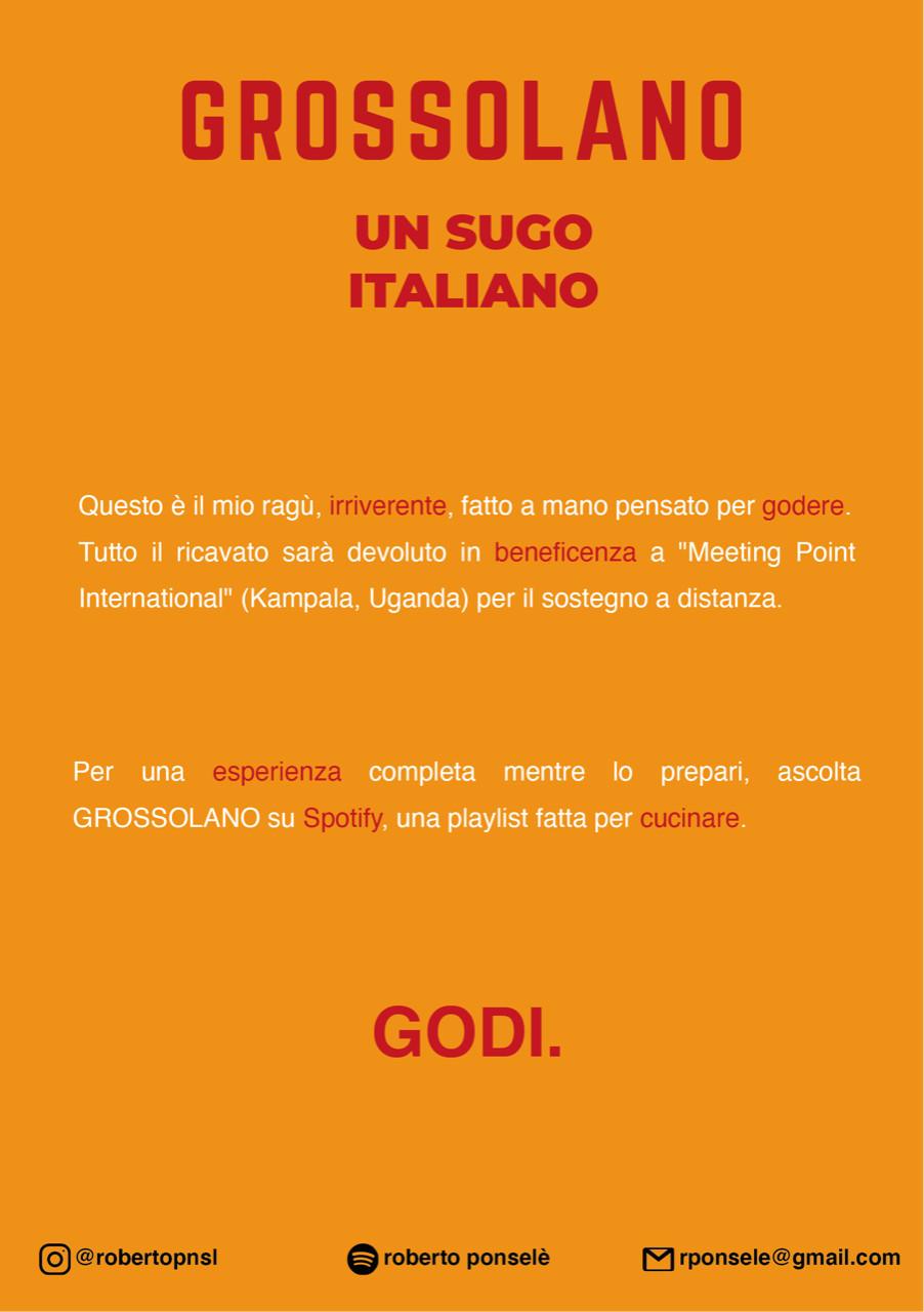 Curriculum di Roberto Ponselè: Grossolano un sugo italiano